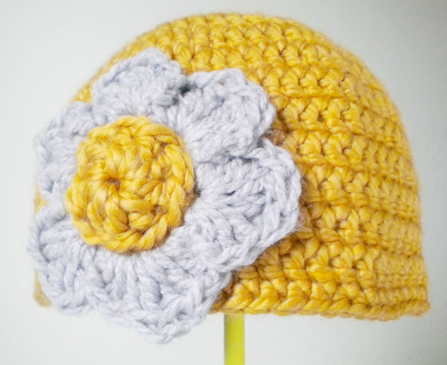 Crochet Hat - Chunky Wool Beanie in Sunshine Yellow and Pale Gray - Soft and Luxurious Crochet Women's Hat for Baby / Toddler / Girl / Woman