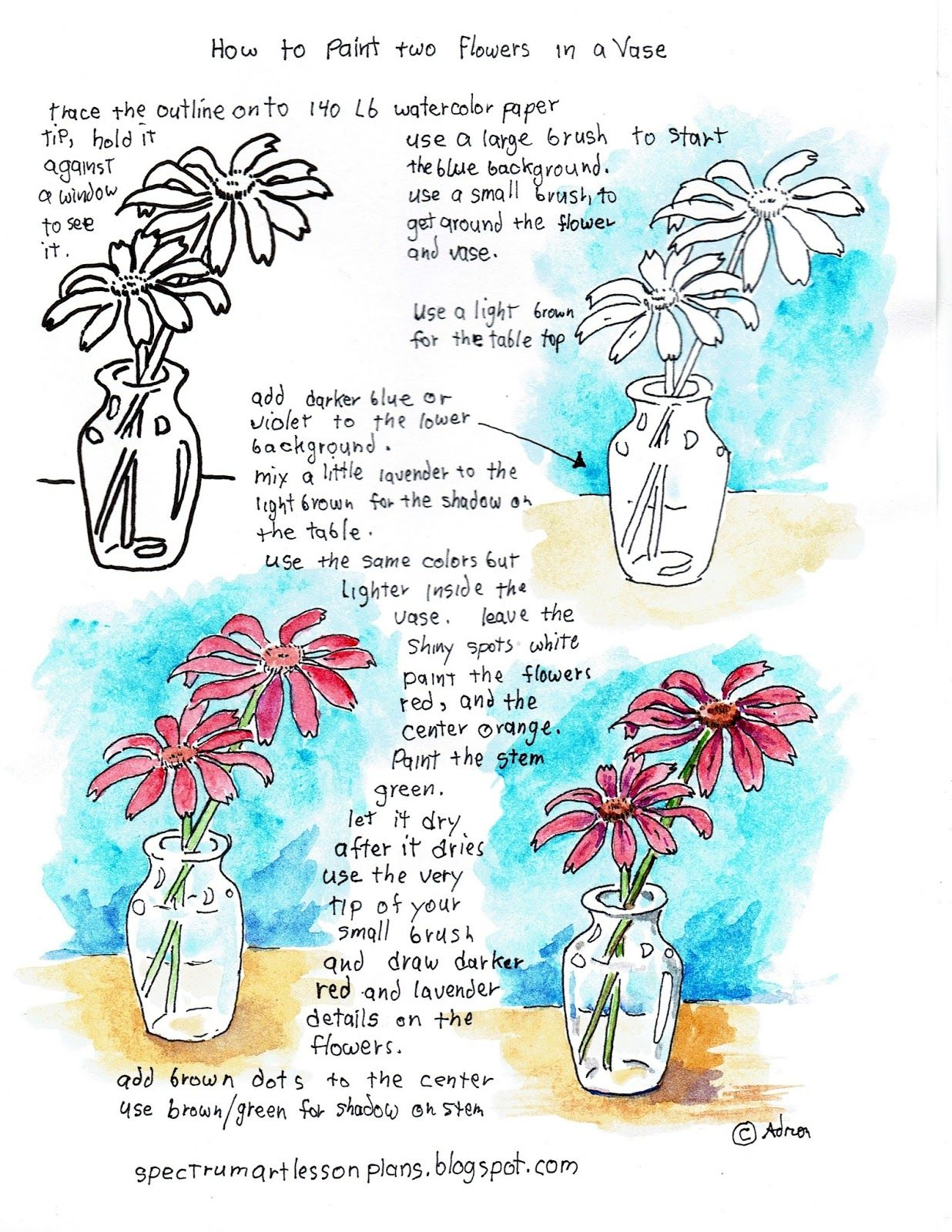 Adron S Art Lesson Plans Printable Painting Worksheet How To Paint Two Flowers In A Vase