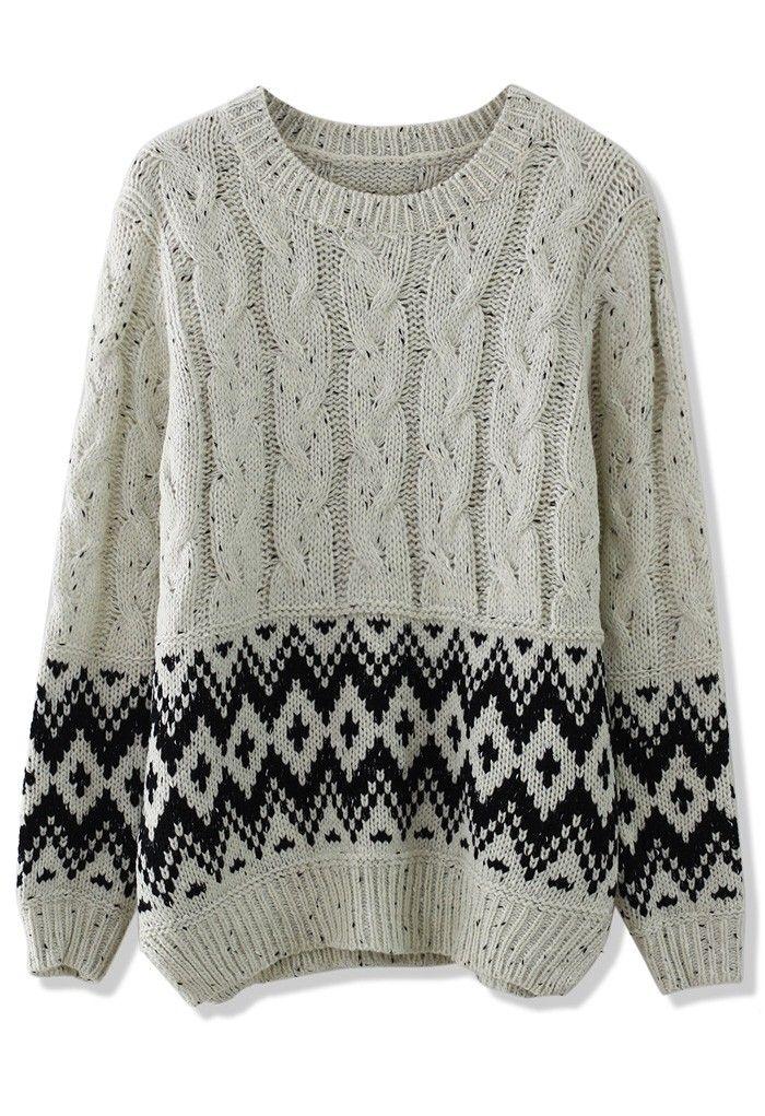 Zig Zag Sweater Knitting Pattern : Cable knit zig zag sweater in white pinterest