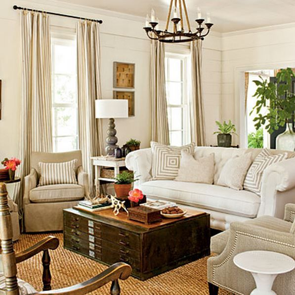 Southern Living Farmhouse Living Room   Love This Room. White Sofa, Neutral  Chair,
