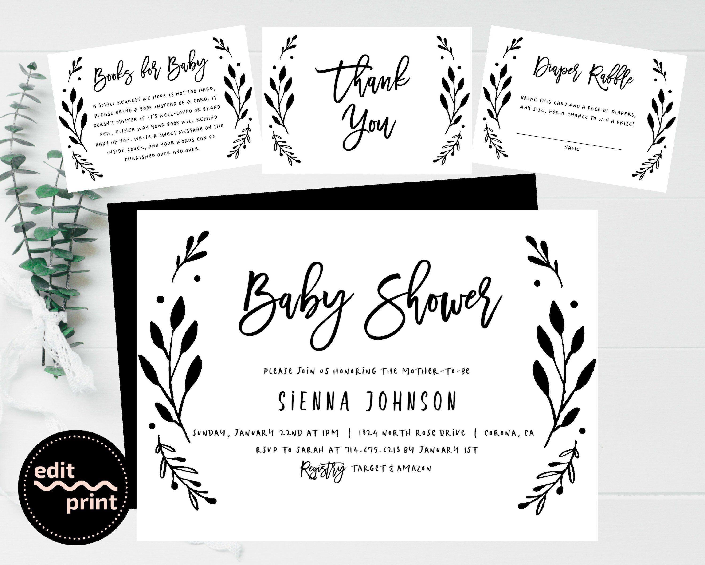 Simple Baby Shower Invite Gender Neutral Black and White Baby Invitation Girl Baby Shower Boy Baby Shower Greenery Baby Shower
