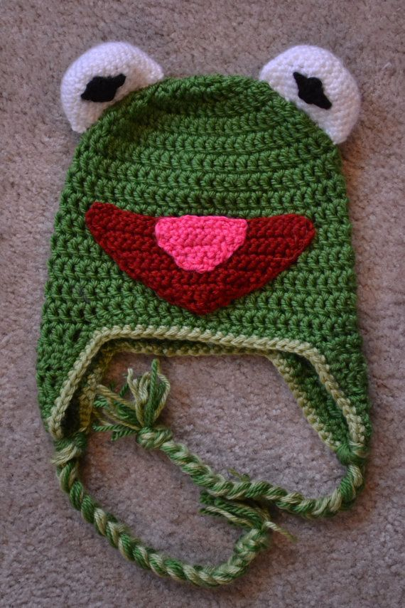 Kermit the Frog Earflap Hat | Mütze, Gehäkelte mützen und Babymütze