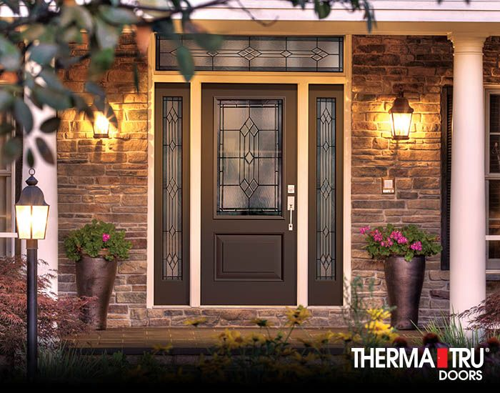Therma Tru Classic Craft Canvas Collection Fiberglass Door Painted Chateau  Brown With Provincial Decorative
