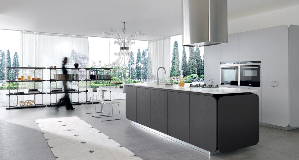 Wonderful Contemporary Wood Veneer / Lacquer Kitchen IT IS Euromobil Design Ideas
