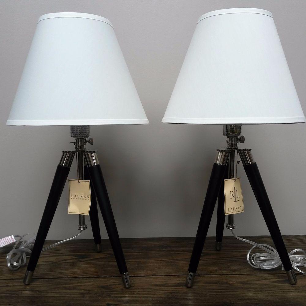 New Ralph Lauren 2 Tripod Table Lamps Linen Shade Black Wooden