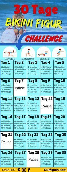 WOW! Mit diesem Trainingsplan in nur 30 Tagen zur idealen Bikini Figur für den Sommer #fitness #abne...