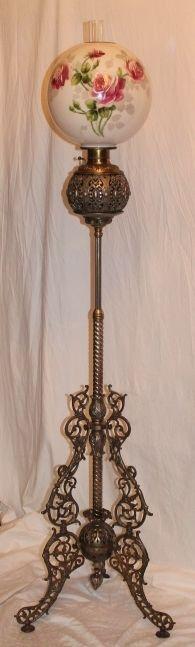 Wonderful Antique Figural Brass Piano Floor Lamp Outstanding