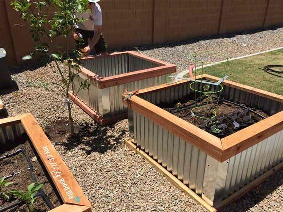 Diy Raised Garden Beds With Corrugated Metal Erhohte Gartenbeete Hochbeet Gartenliege