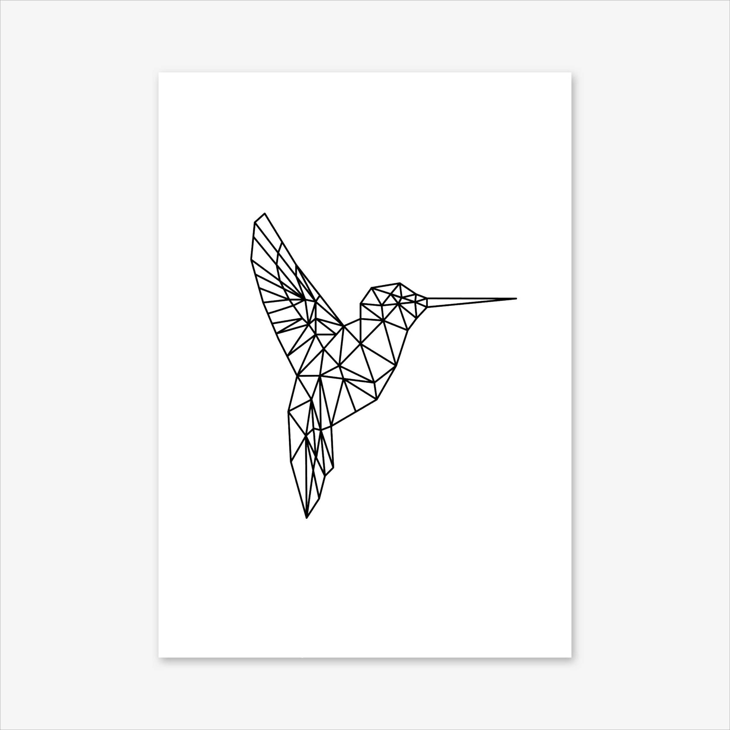 Hummingbird Print Geometric Print Hummingbird Art Bird