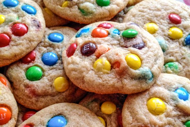 Rainbow Cookies: very yummy and chewy cookie! I left the dough in the fridge overnight to help make them even chewier.  I used semi sweet chocolate chips instead of m and  sprinkled smashed up Skor bars on the top.  Each cookie has about 122 calories.  I will probably use this dough again