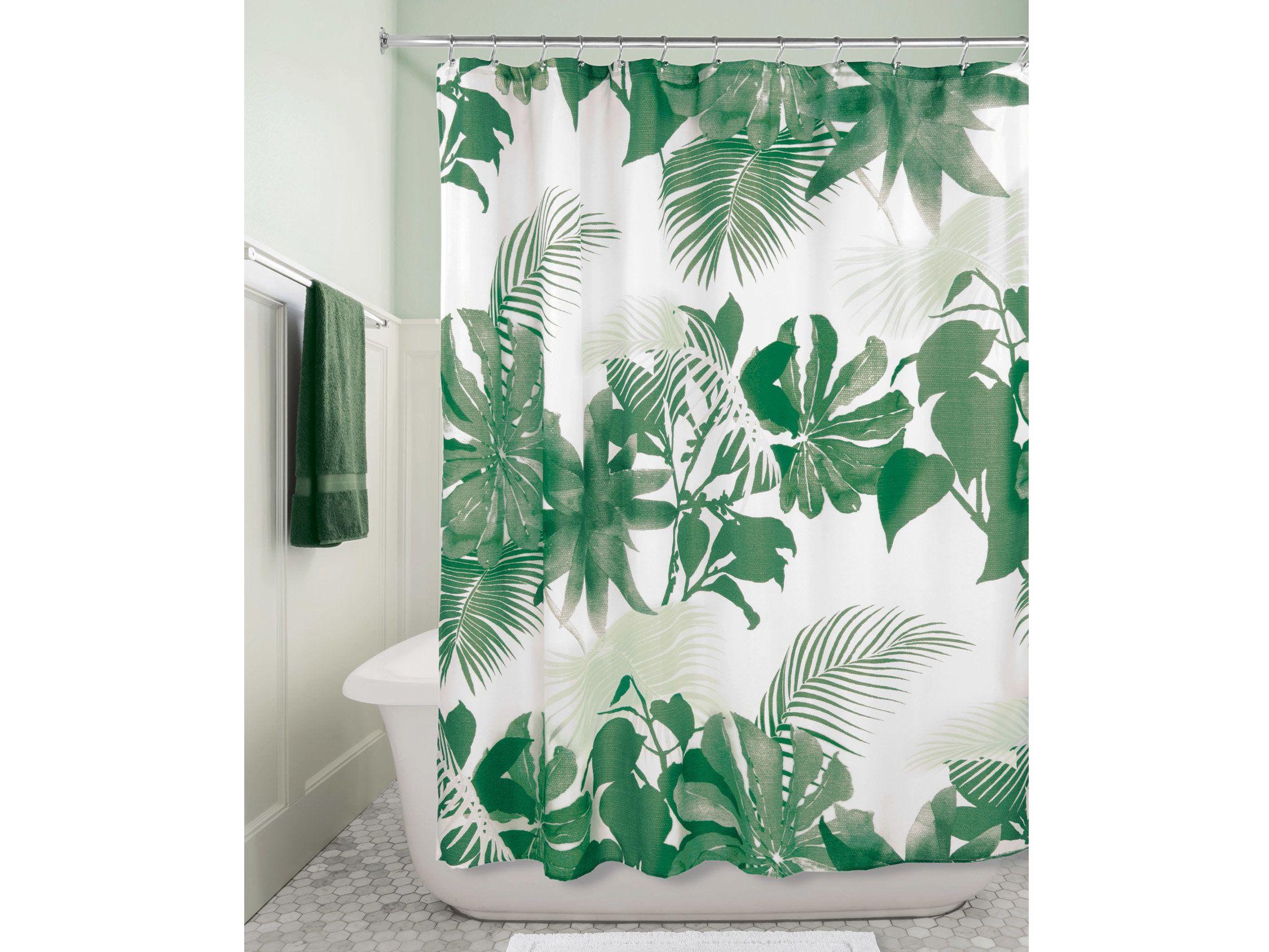 rideau de douche 100 polyester motif feuilles tropicales
