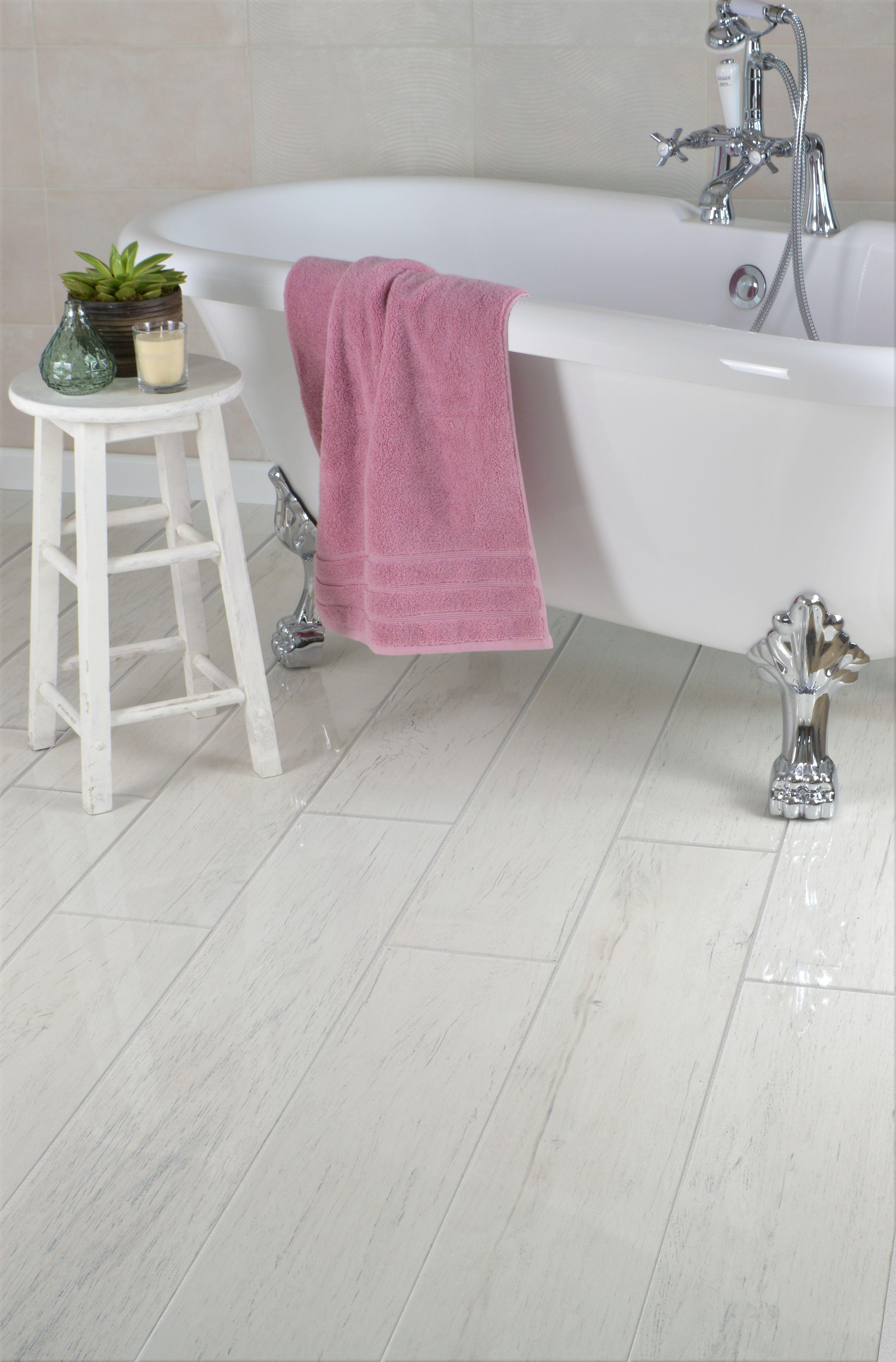 Sevenoaks White Oak Polished Wood Effect Tiles Wood Floor Bathroom Wood Effect Tiles White Wooden Floor