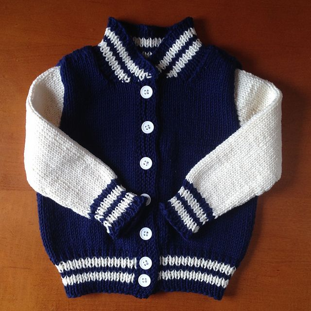 Baby Letterman Jacket pattern by Angie @ Knit411
