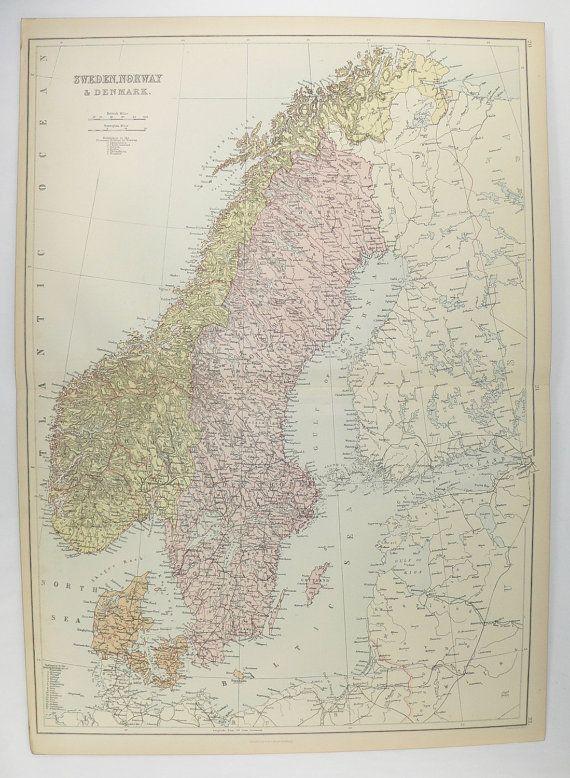 Vintage Scandinavia Map 1884 A C Black Map Sweden Norway Map Denmark Antique Sweden Map Scandinavian Decor Office Gift For Norway Map Sweden Map Denmark Map