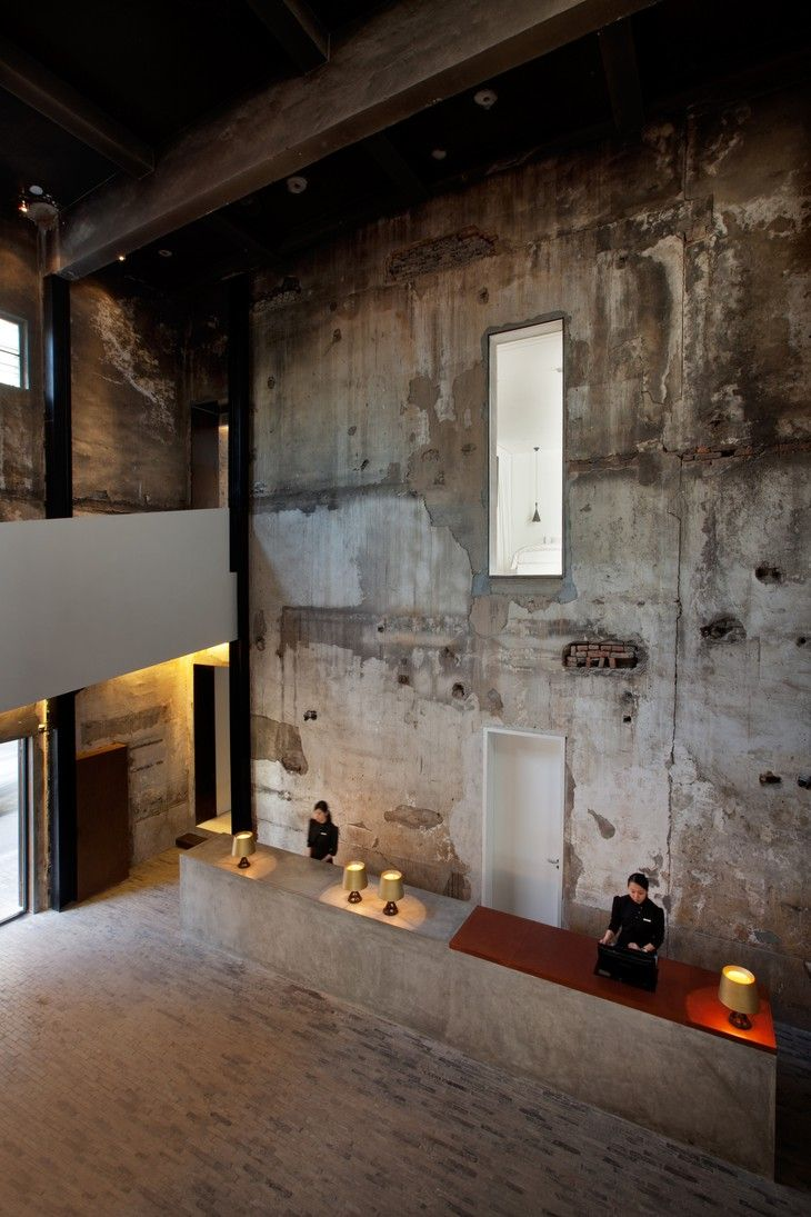 The Waterhouse At South Bund The Love For Visible Concrete In Shanghai Hotel Interiors Hotels Design Lobby Design
