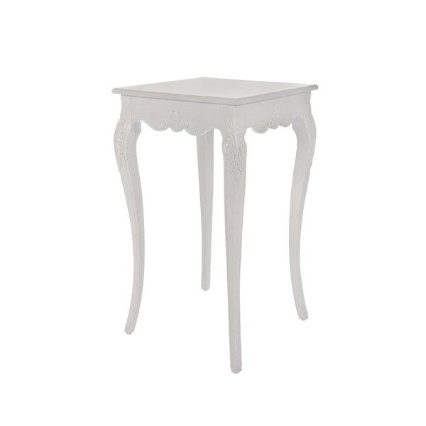 White baroque cocktail table 24 x 24 x 42