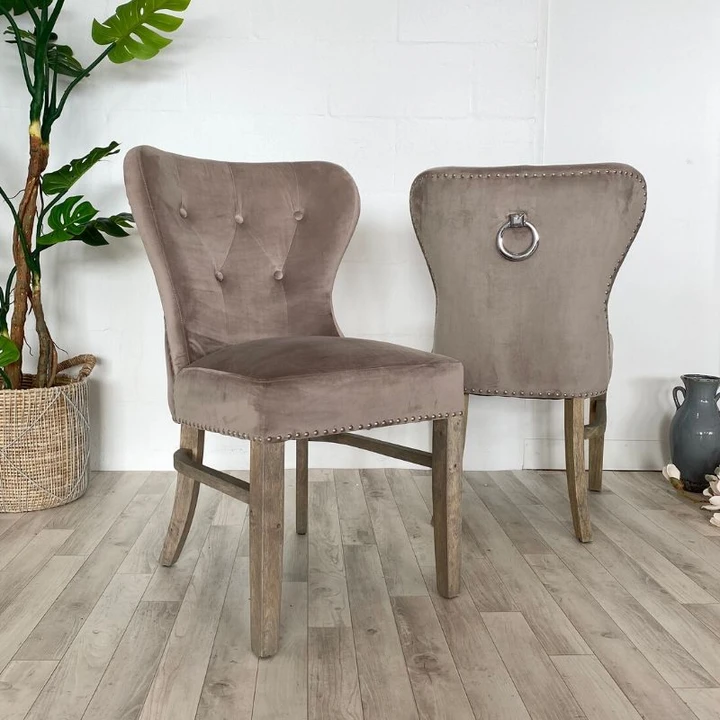 Luxe Daisy Taupe Velvet Dining Chair Pair In 2020 Fabric