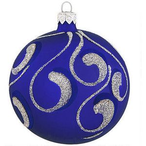 Royal Blue With Silver Glitter Glass Ornament Poland Made European Made Chri Blue Christmas Ornaments Christmas Ornaments To Make Holiday Decor Christmas