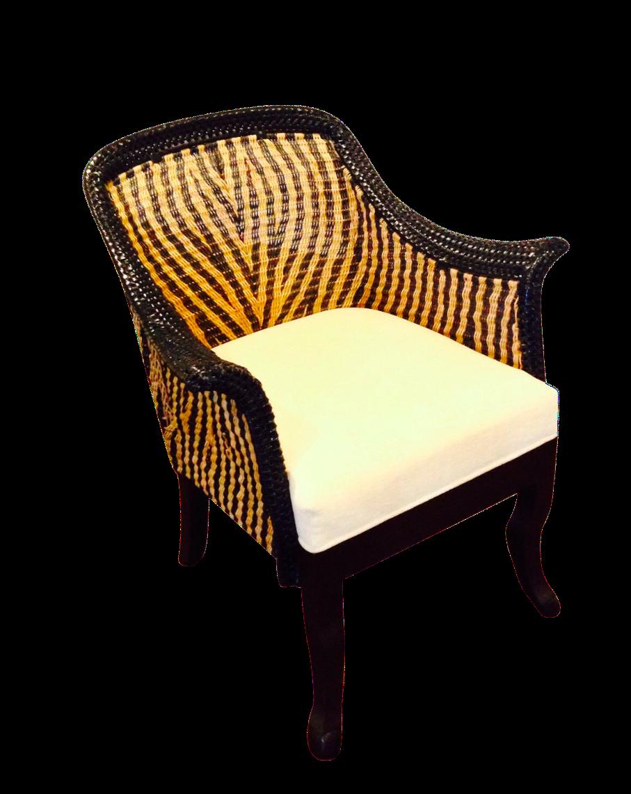 Palecek Zebra Wicker Chair With Wood Legs on Chairish.com | African ...
