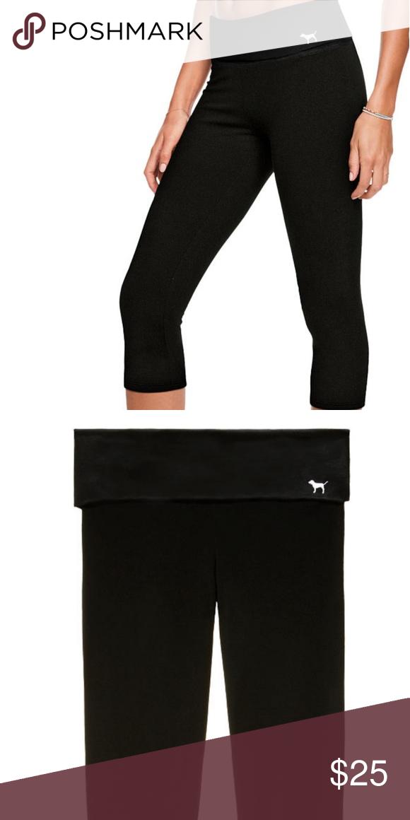 325a594e06234e Victoria's Secret Pink Fold Ovet Waist Yoga Capri Fold over waist Capri  length Black XS Brand new PINK Victoria's Secret Pants Leggings