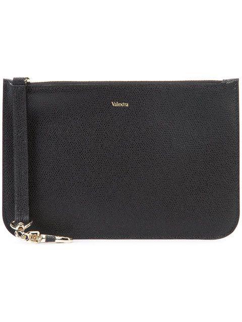 New Valextra Black Medium Zip Pouch For Women Online