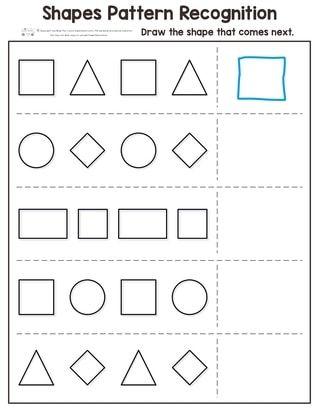Shapes Pattern Recognition For Kindergarten Itsybitsyfun Com Kindergarten Worksheets Printable Shapes Worksheet Kindergarten Pattern Worksheets For Kindergarten
