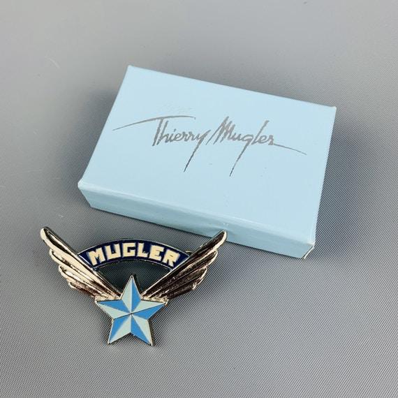 Thierry Mugler Vintage Silver Tone Metal Blue Star Logo Pin Star Logo Vintage Silver Pin Logo