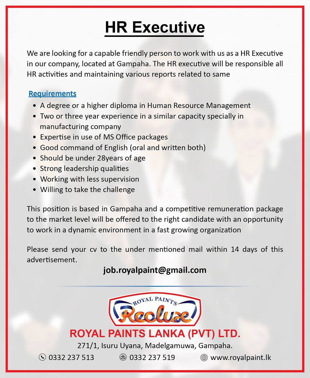 Hr Executive At Royal Paints Lanka Pvt Ltd  Career First