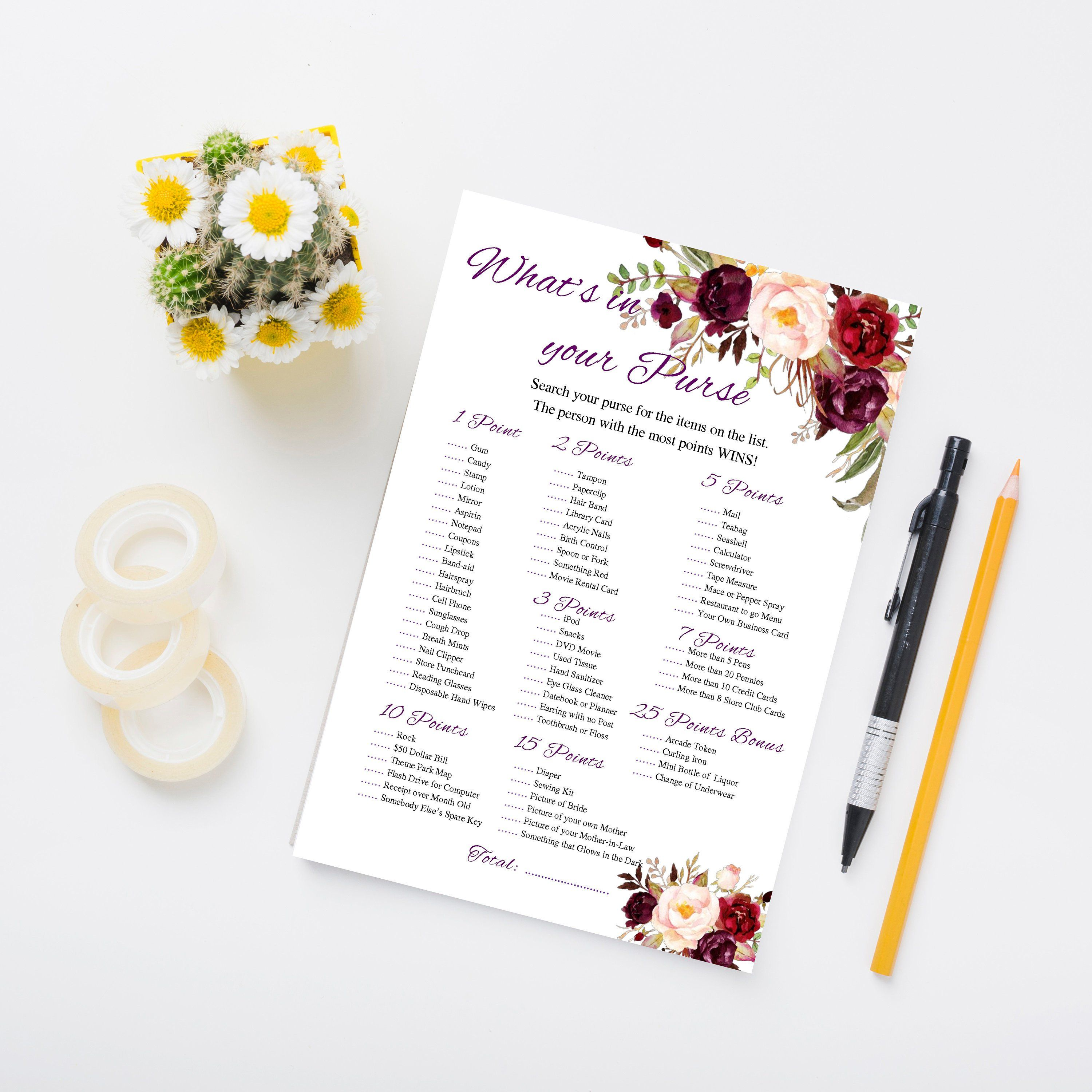 Whats In Your Purse Bridal Shower Game Purse Game Printable Etsy Bridal Shower Games Floral Bridal Shower Whats In Your Purse