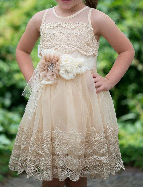 Girls Ivory Lace Dresscrochet lace dressIvory Flower Girl ...  Ivory Lace Vintage Flower Girl Dress