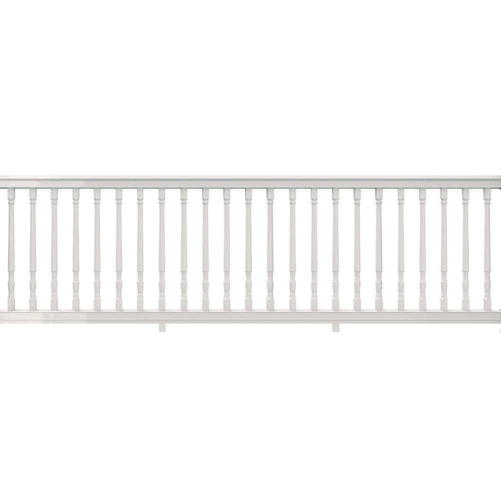 Veranda Premier Series 10 Ft X 36 In White Polycomposite Rail Kit With Colonial Balusters 73013183 With Images Vinyl Railing Railings Outdoor White Vinyl Fence