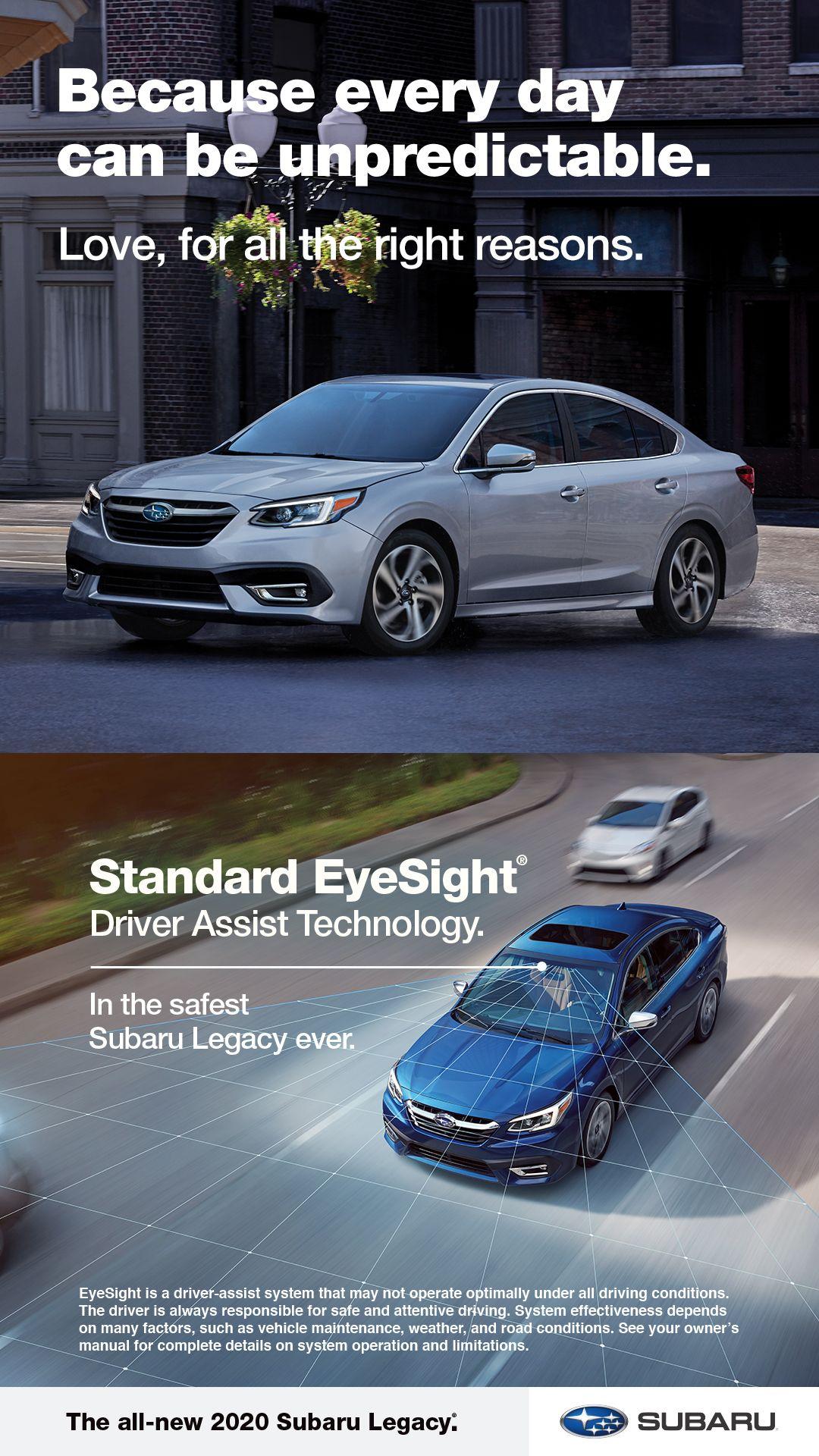 Standard Eyesight Driver Assist Technology In The All New Subaru Legacy Subaru Legacy Subaru Legacy