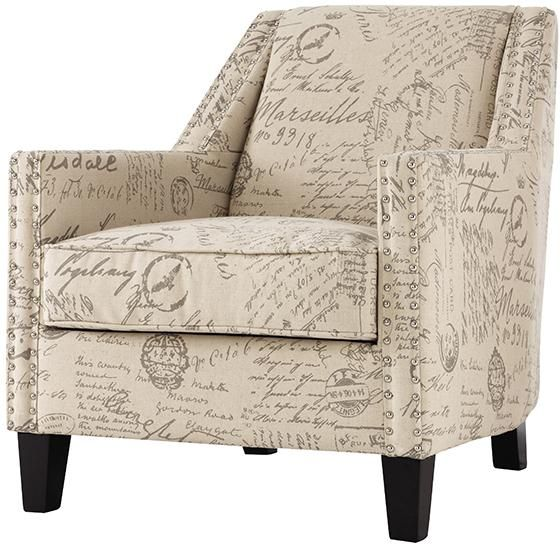 Spiritual Script Accent Chair: Tyler Ivory Script Linen Arm Chair 1599800470