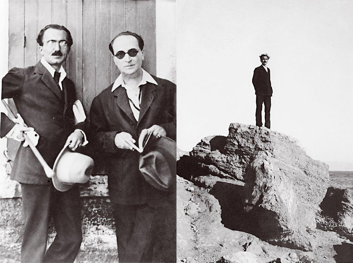 Αποτέλεσμα εικόνας για Με τον Αγγελο Σικελιανό (δεξιά)