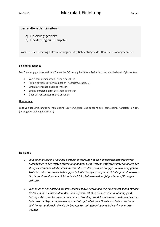 Merkblatt Einleitung Erorterung Mit Beispielen Unterrichtsmaterial In Den Fachern Deutsch Fachubergreifendes In 2020 Einleitung Merken Erorterung