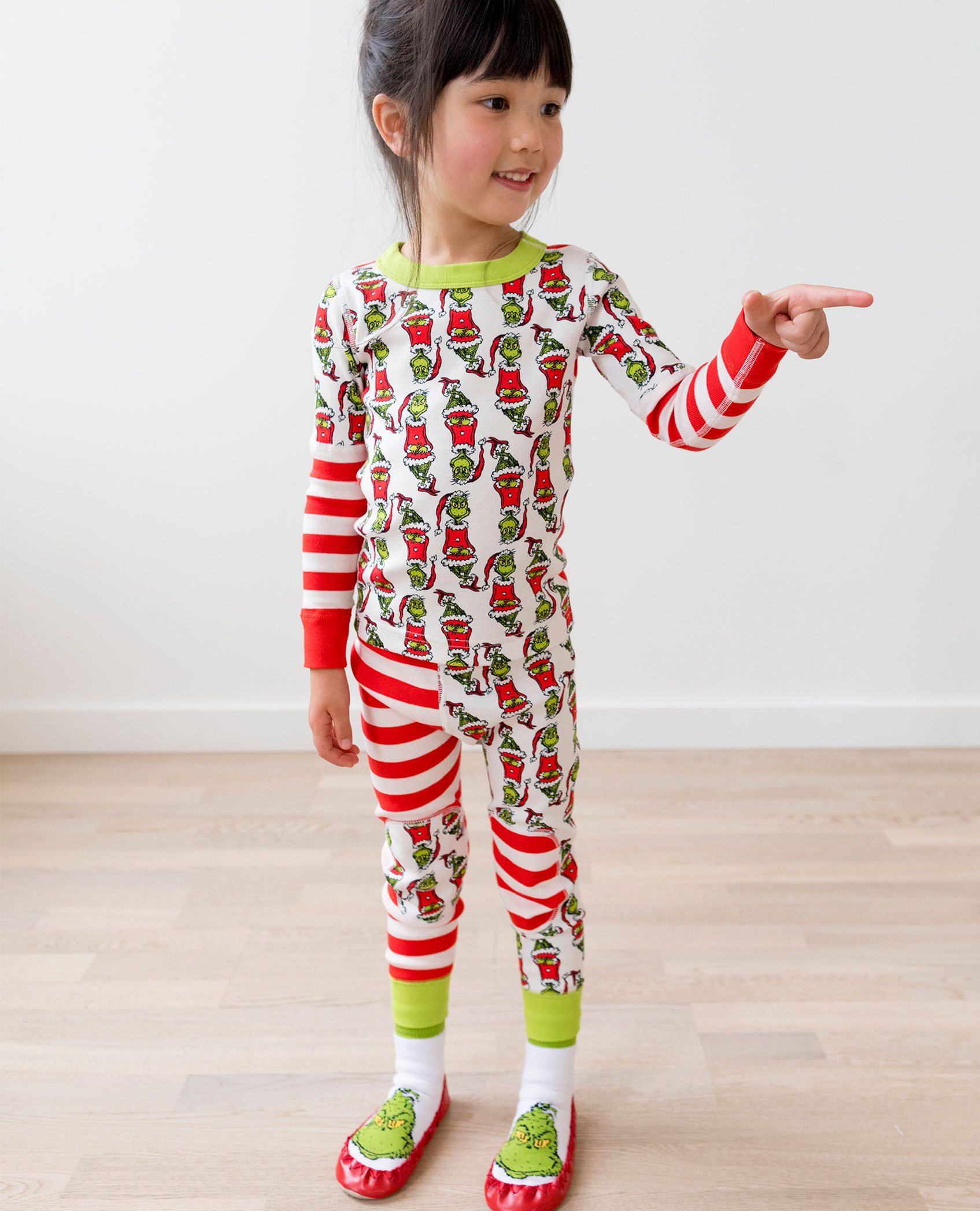 Dr Seuss Long John Pajamas In Organic Cotton in Grinch Mix It Up