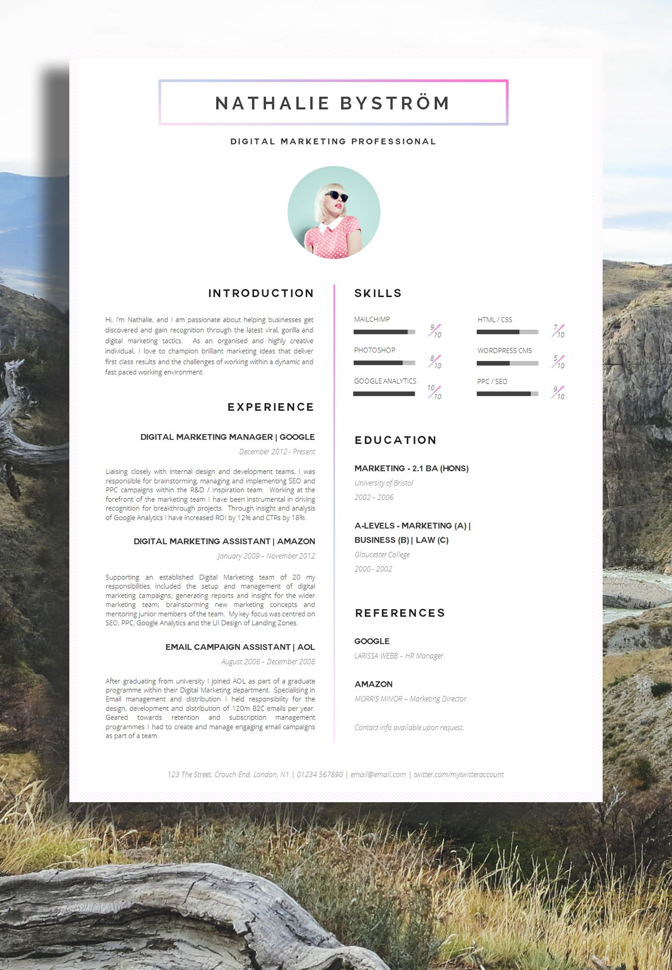 nathalie bystrom marketing cv resume a professional approach internet
