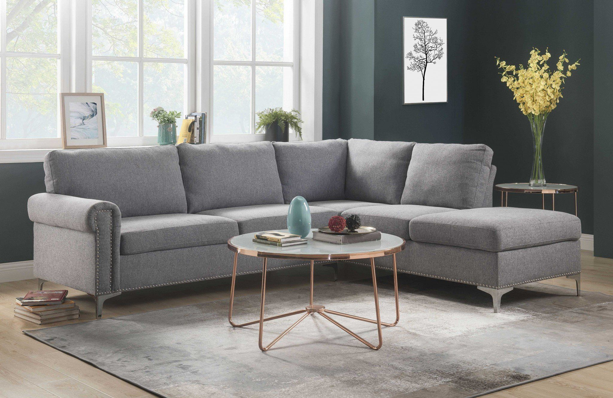 Photo of 78″ X 100″ X 35″ Gray Fabric Upholstery Metal Leg Sectional Sofa
