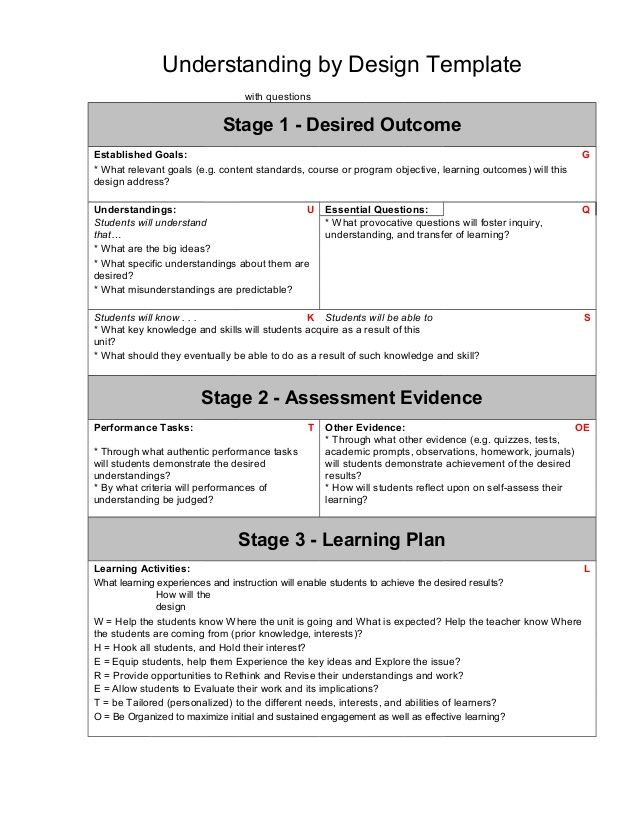 Ubd Template With Guiding Questions  Yassessment