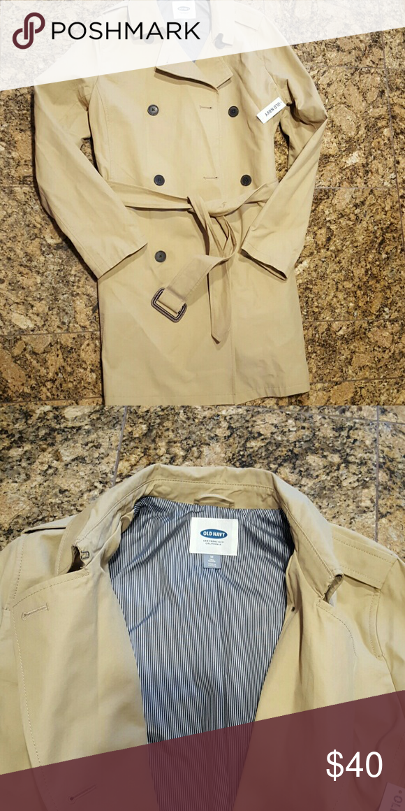 Old Navy trench coat Tan trench with brown button closure navy and white pin stripe interior/size medium tall Old Navy Jackets & Coats Trench Coats