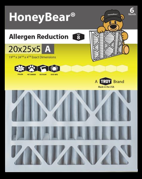 "20x25x5 ""A"" HoneyBear® MERV 8 Allergen Reduction Air"