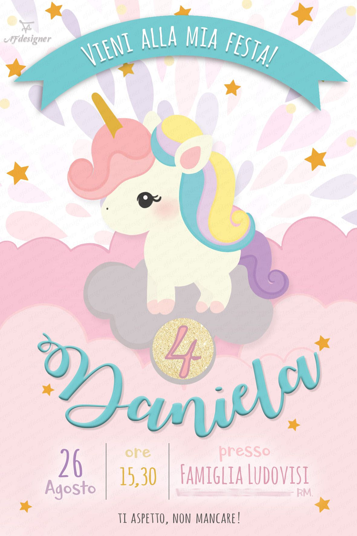 Digital Invitation Birthday Party Unicorn Printable Sweet Unicorn