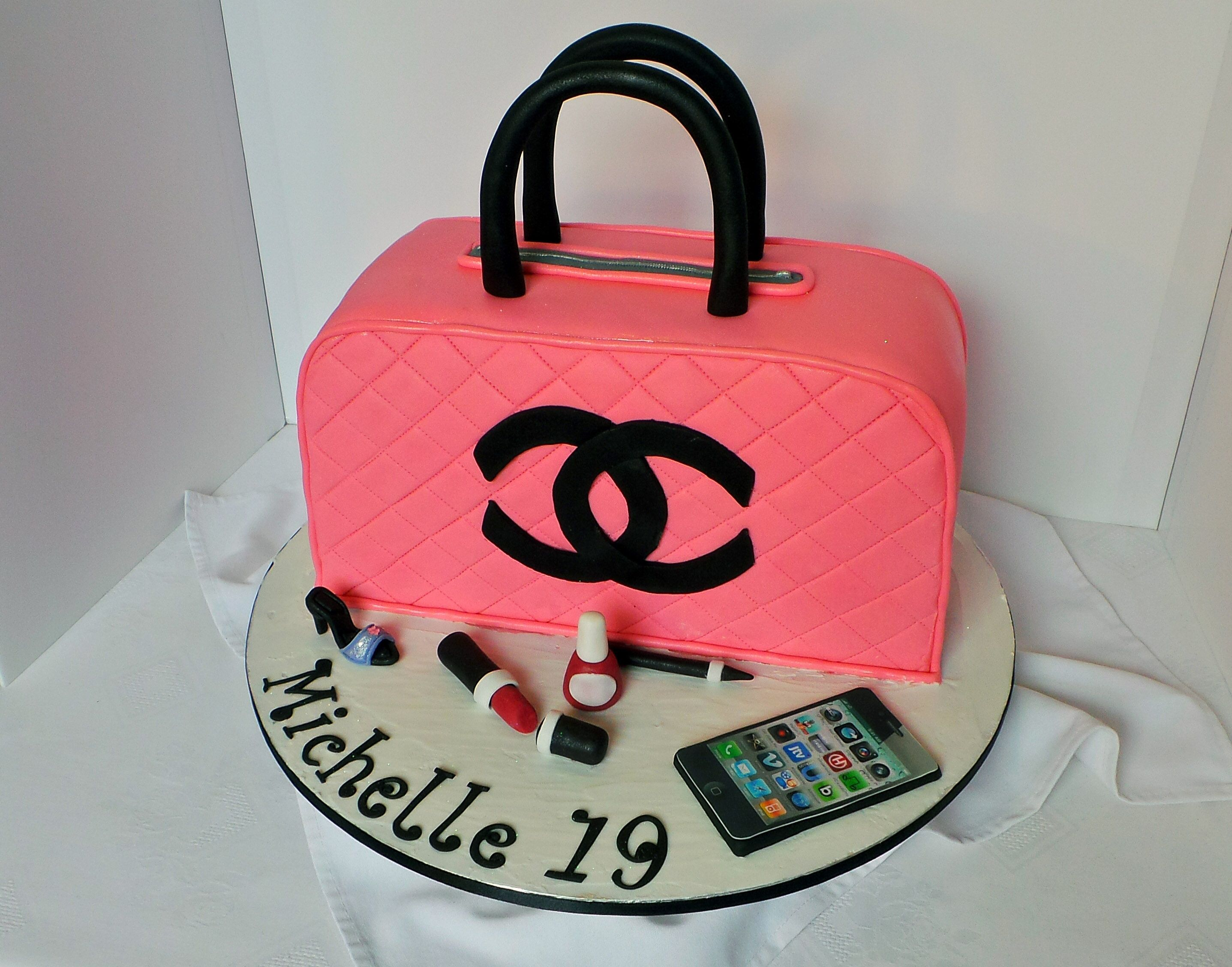 Chanel handbag with accessories themed birthday cake ...