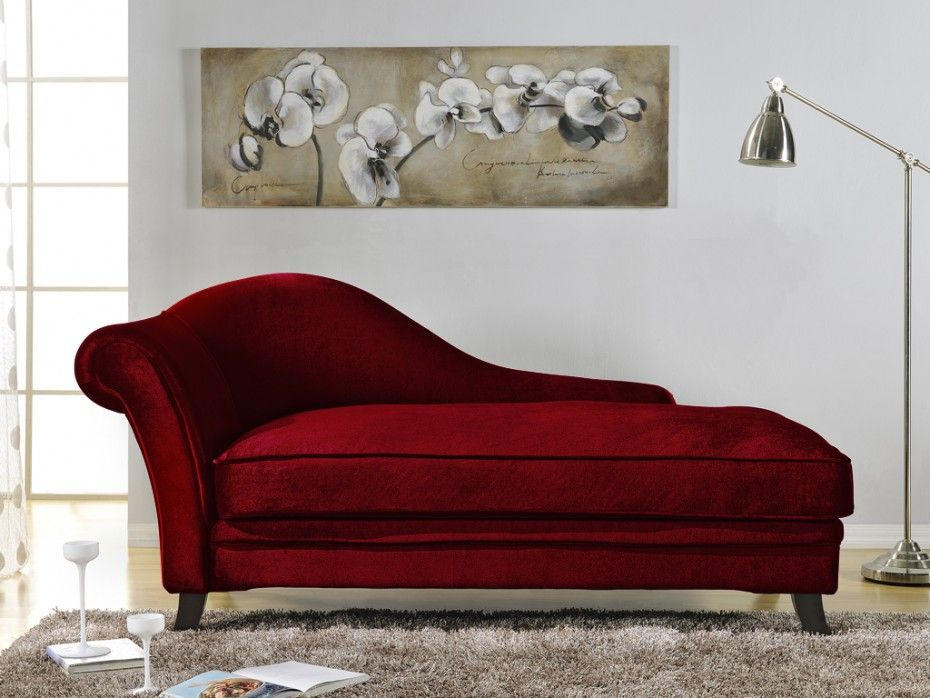Recamiere Chaiselongue recamiere barock boudoir armlehne rechts rot exterior