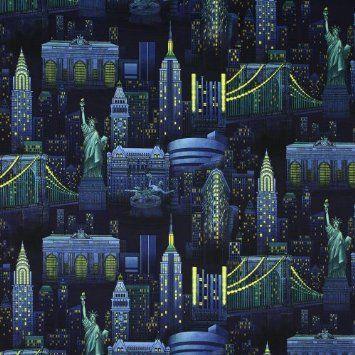 Timeless Treasures New York City Night time Skyline | Bat bed ...