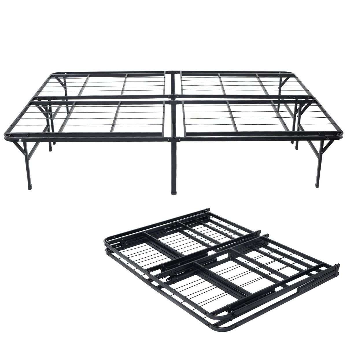 Black Heavy duty Folding Bed Platform Mattress Foundation