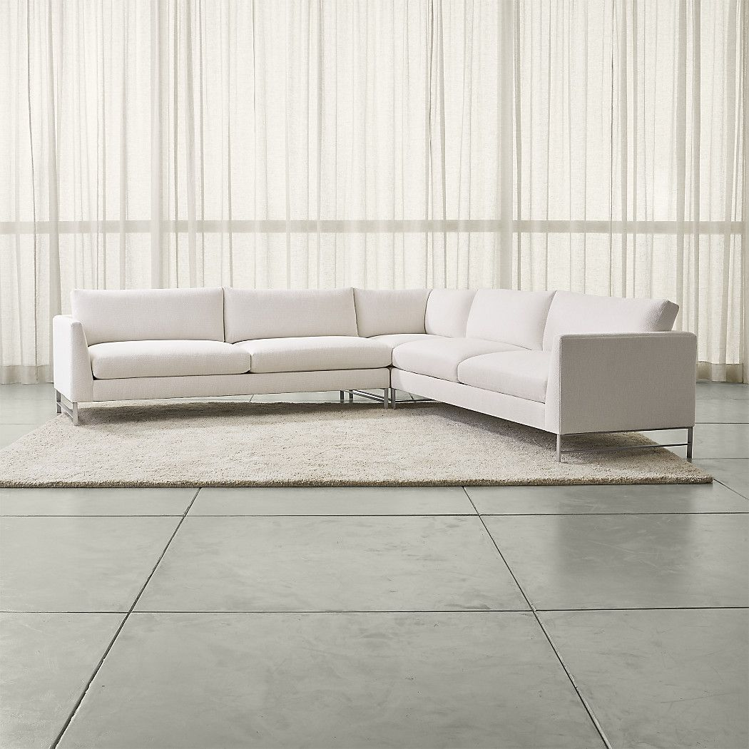 Shop genesis 3 piece right corner sectional with stainless steel base this sectional made up of a right arm sofa right corner and left arm sofa