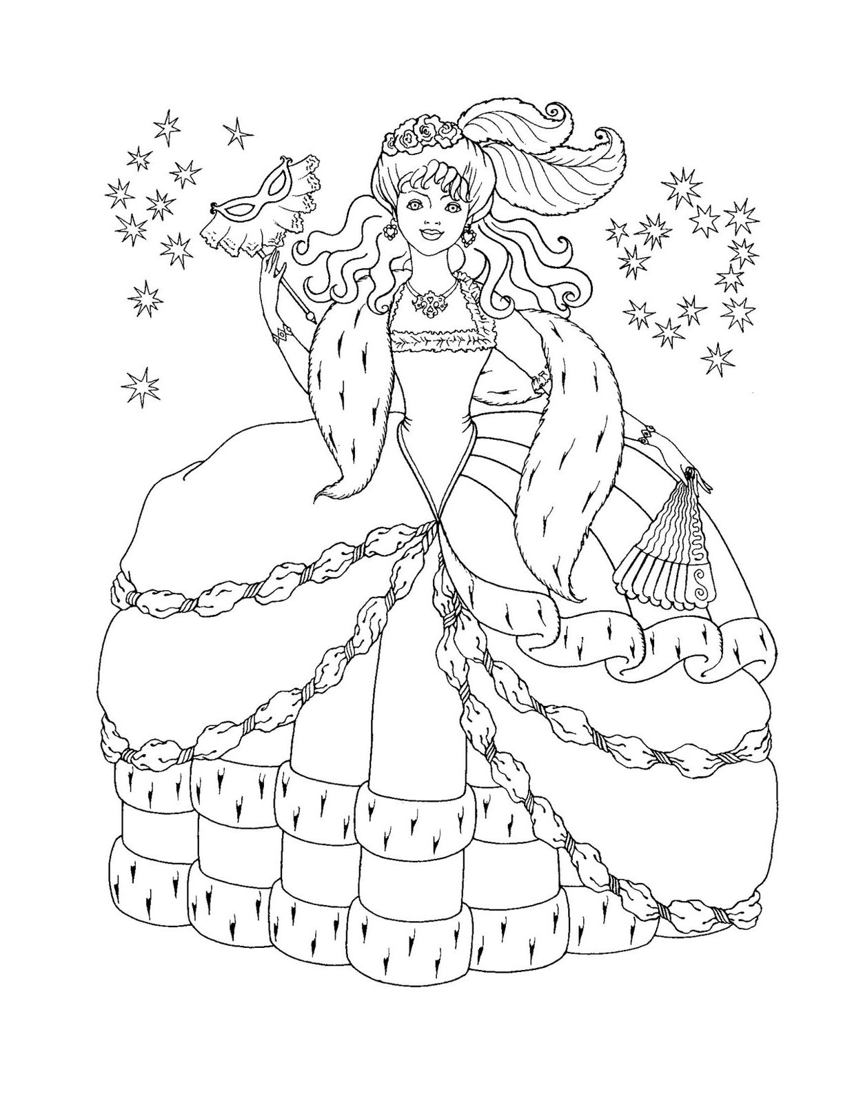 Masquerade Barbie   Adult Coloring Pages   Pinterest   Masquerades ...