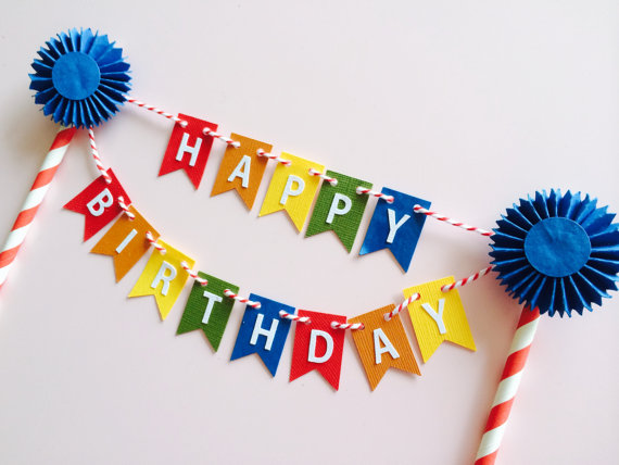 happy birthday pennant cake bunting cake by paperlettedesigns
