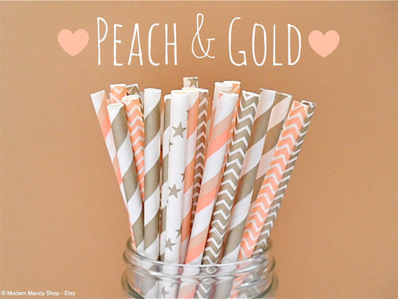 Peach And Gold Mixed Paper Straws By Popupparties 4 00 Wedding Parties Showers Gifts